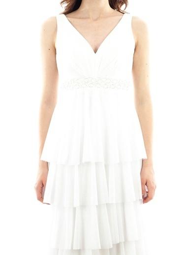Belamore  Ekru Askılı Kol V Yaka Beli Pul Detaylı Simli Kat Kat Abiye & Mezuniyet Elbisesi 1301455.147 Ekru